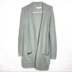 Loft Green Long Chunky Knit Open Front Cardigan